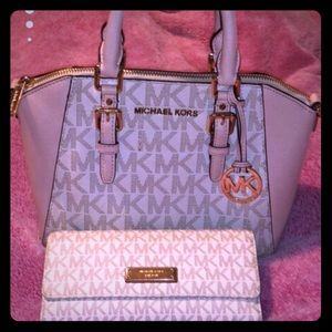 Michael Kors pink and beige purse and wallet